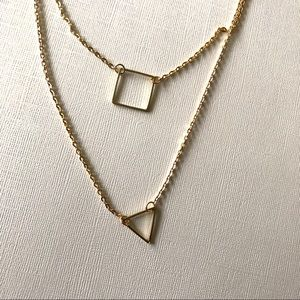 Double layer triangle square gold chain necklace